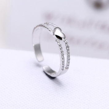 New Arrival Jewelry Gift Stylish Shiny 925 Silver Heart Double-layered Korean Luxury Accessory Ring [7587127943]