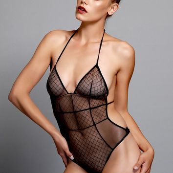 Love Haus - Sheer Sexy Body Suit in Black