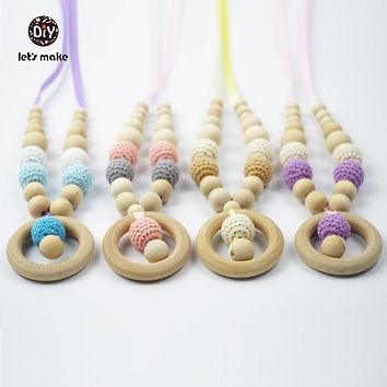 Let's make 12 Piece Teething Nursing Necklace  Wooden Crochet Pendant Eco-Fiendly Breastfeeding Necklace Gift for Baby