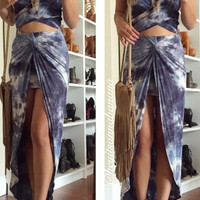 Mountain Blue Tie Dye Maxi Skirt