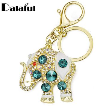Amazing Elephant Crystal Bag Pendant Purse Bag Buckle  Trendy Key chains Holder Keyrings Keychains For Car K189