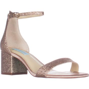 Blue Betsey Johnson Miri Ankle Strap Evening Sandals, Champagne Glitter, 9 US