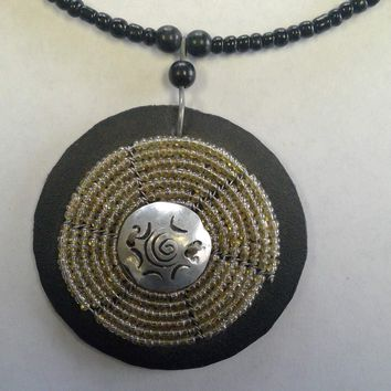 African Tribal Necklace - Beaded with Unique Tribal Design Pendent