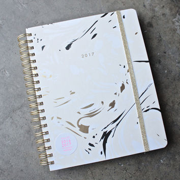 ban.do 17  month large agenda - marble, blonde planner