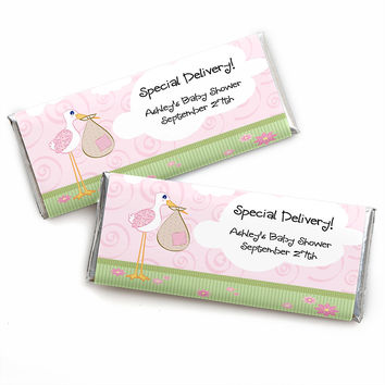 Stork Baby Girl - Personalized Baby Shower Candy Bar Wrapper Favors