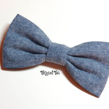 Blue Chambray Unique Bow Tie For Girls/Women, Boys/Teen, Toddler, Infants in 100% Cotton