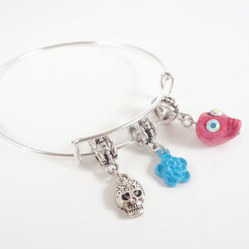 Sugar Skull Bracelet ~ Sugar Skull Jewerly , Day of the dead Bracelet , Dia de los muertos Jewelry , Mexican Calavera gifts , Skull Jewerly