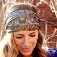 BUY 2 get 1 FREE!! Blue church Glass Yoga Headband, Fitness Workout Headband, Running Headband, turban, Top Selling Item, Boho Headband