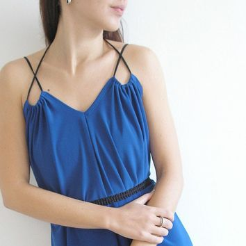 Beautifully Draped Evening Dress in Royal Blue by LuciaVerona