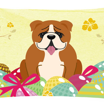 Easter Eggs English Bulldog Red White Canvas Fabric Decorative Pillow BB6120PW1216