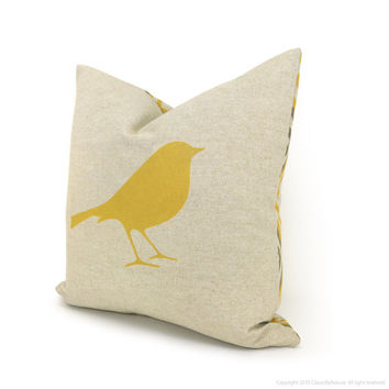 Decorative pillow cover, Throw pillow - Mustard yellow bird print on natural canvas and geometric back in 16x16