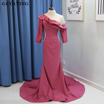 Fuchsia Illusion High Neck Mermaid Evening Dress Long Sleeves Pearls Crystal Ruffled Arabic Prom Dresses for Women Red Carpet