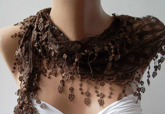 Brown - Elegance  Scarf with Lacy Edge