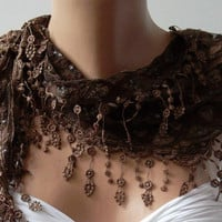 Brown - Elegance  Shawl / Scarf with Lacy Edge