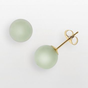 14k Gold Jade Stud Earrings (Green)