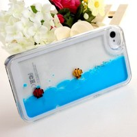 Case for iPhone 4s,Cover for iPhone 4s,Case for iPhone 4,Hard Case for iPhone 4s,ikasus Creative Design Flowing Liquid Swimming Fish Hard Case for Apple iPhone 4 4S (Blue)