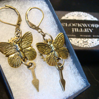 Antique Bronze Butterfly with Gear and Clock Hand Steampunk Earrings (1960)