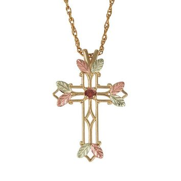 Black Hills Gold Tri-Tone Garnet Leaf Openwork Cross Pendant (Red)