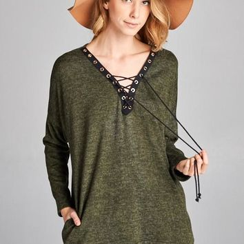 Loose Fit Long Sleeve V-neck Crisscross Top