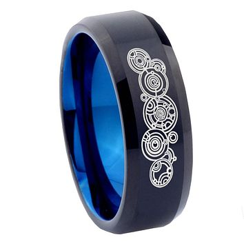 8mm Doctor Who Bevel Tungsten Carbide Blue Mens Wedding Band