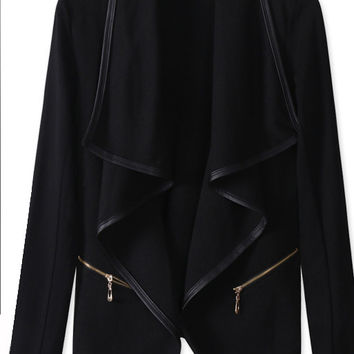 Irregular Long Sleeves Lapel Turn-down Collar Short Coat