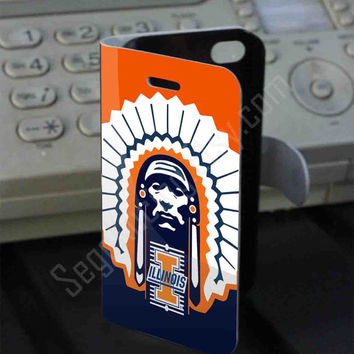 Illinois Fighting Illini football PVC (syntetic) Leather Folio Case for iPhone and Samsung Galaxy