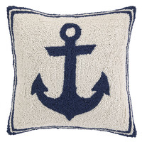 Anchor 16x16 Wool Pillow, Navy, Decorative Pillows