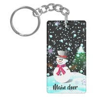 "Snowman ""Merry Christmas"" personalised Keychain"