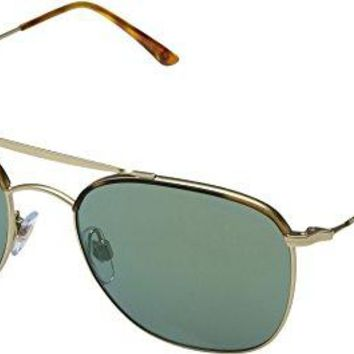 Giorgio Armani  Men's 0AR6058J Yellow Havana/Matte Pale Gold/Mirror Green Sunglasses