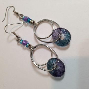 Handmade Jewelry / Dangle Earrings / Purple & Teal Fused Glass Beads / Wirework / Donut Beads / Handmade Beads / Geometric