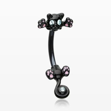Blackline Jumping Kitty Cat Sparkle Belly Button Ring