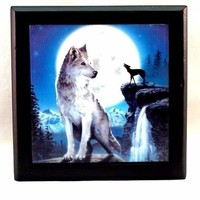 Trinket Box Howling Wolf Moon Wood Tile Jewelry Gift Box Black Velvet Lined New