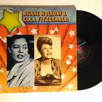 OCTOBER SALE Vinyl Record Billie Holiday and Ella Fitzgerald Double LP Album 1980 Air Mail Special Big Stuff