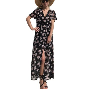 good quality Women Long Beach Wrap Dress Short Sleeve Sexy V Neck Wrap Dress Floral Casual Maxi Vestidos Dresses Fashion Summer 2018