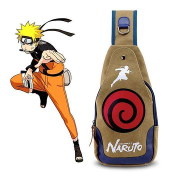 Naruto Sasauke ninja Uzumaki  Chest Bag Canvas Messenger Shoulder Bags Backpack Anime Mens Women Cosplay Crossbody Casual Bags Purse Collection AT_81_8