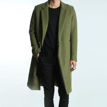 Mens Brief Winter Wool Coat 2017 Male Autumn and Winter Fashion Coat Solid Color Brief All-match Green Woolen Overcoat