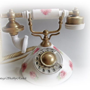 50 % OFF Retro phone. Antique phone. Hand-decorated Phone Shabby Chic Style. Shabby Chic Home decor. Vintage Telephone.