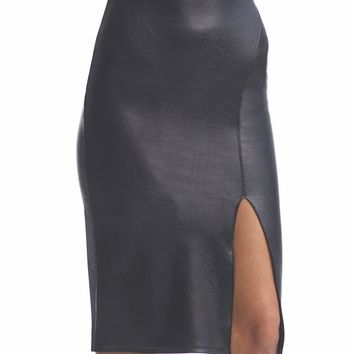 Faux Leather Side Split Midi Skirt