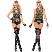 Free shipping! camouflage slim women sexy uniform Soldiers costumes,military officer costumes Halloween party sergeant cos