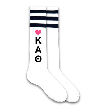 Kappa Alpha Theta- Vertical Heart Letters on Knee High Socks