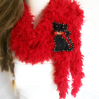 Cats scarf, Red cat scarf, Cat red scarf, Red plush scarf, Red scarf, Valentine's day gift, Soft red scarf, Gift options, Women's fashion