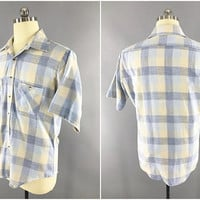 1960s Vintage / JC Penney Towncraft / Blue & Yellow Plaid Shirt / Short Sleeve / Mens Casual Shirt / Size 42-44 / Preppy Shirt / Fly Collar