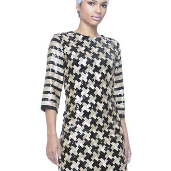 HELIX SEQUIN SHIFT DRESS - GOLD
