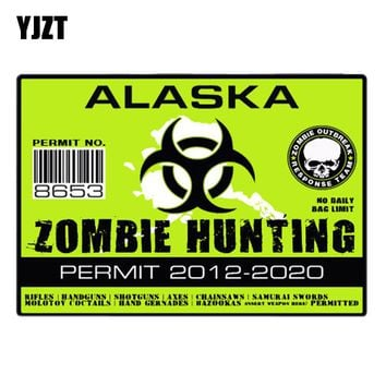 YJZT 10.2CM*7.1CM ZOMBIE HUNTING PERMIT Lnterest Decal Alaska Zombie Outbreak Response Team Reflective Car Sticker C1-7440
