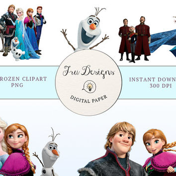 SALE! 42 Frozen Disney Clipart Printable Pictures - Digital Graphic - Instant Download - Scrapbooking