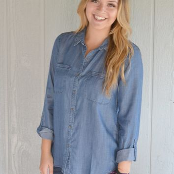 Medium Wash Denim Top