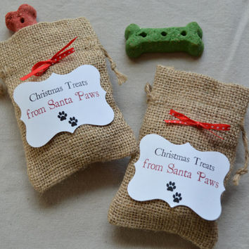 Dog Holiday treat bags, Santa paws Christmas burlap gift bags Pet treats stocking burlap bag milk bone dog treat santa gift bag doggie gift