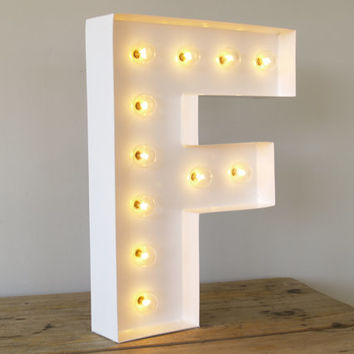 San Serif F With Holywood Lights : Carnival Letters Light Up Letter Lamp  And Marquee Letter
