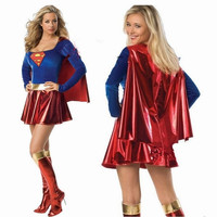 Fashionable Adult Women Sexy Halloween Party Superman Costume Outfit Fancy Cosplay Dress (Size: S) = 1946228484