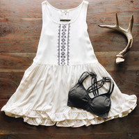 A Babydoll Embroidered Sundress in Cream